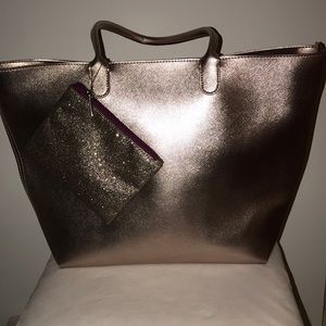Large Rose Gold tote with glitter wallet